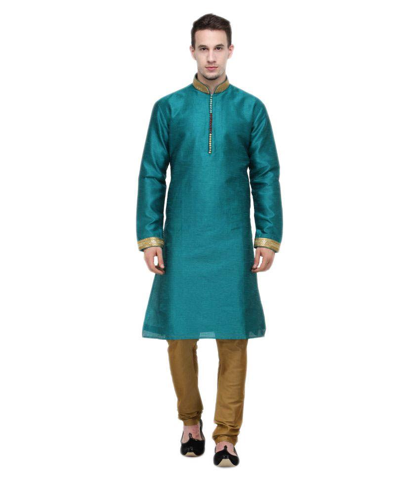 RG Designers Green Silk Blend Kurta Pyjama Set