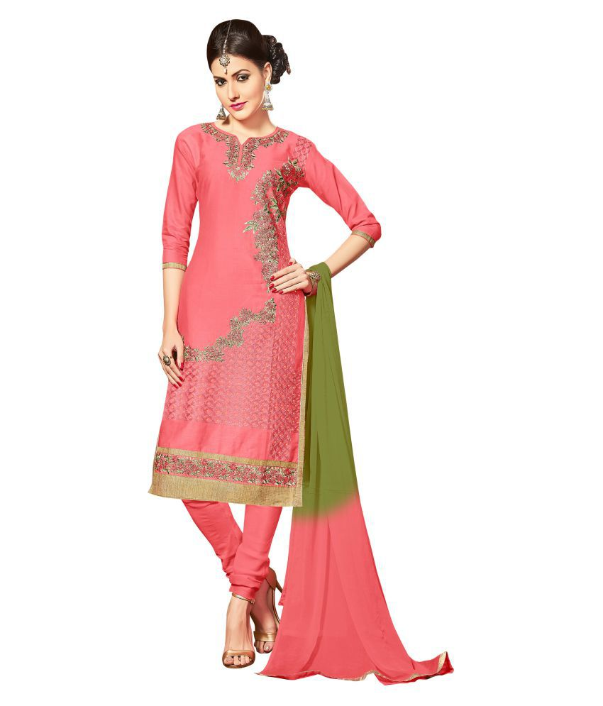 Maroosh Red and Pink Cotton blend Straight Semi-Stitched Suit