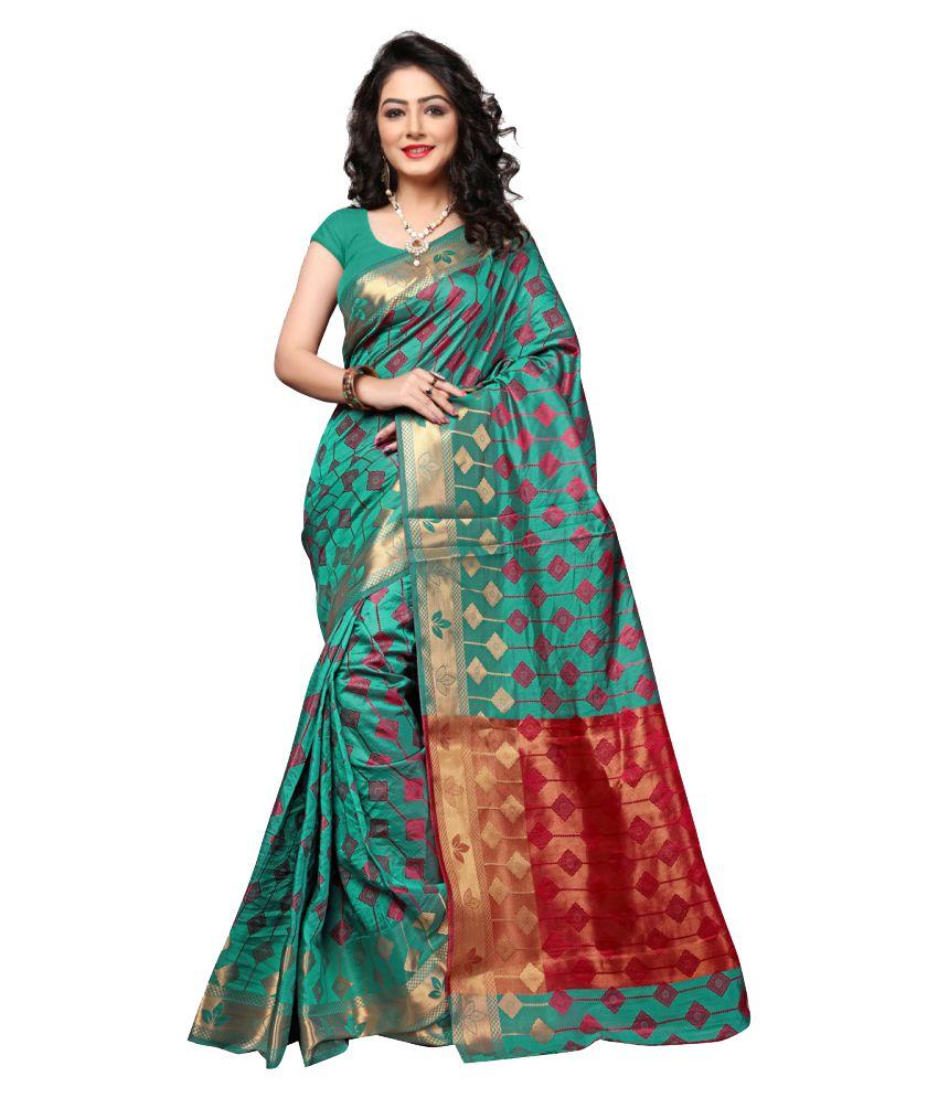 Indi Wardrobe Green and Red Art Silk Saree