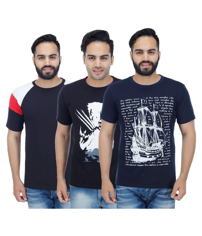 Rakshita's Collection Navy Round T-Shirt Pack of 3