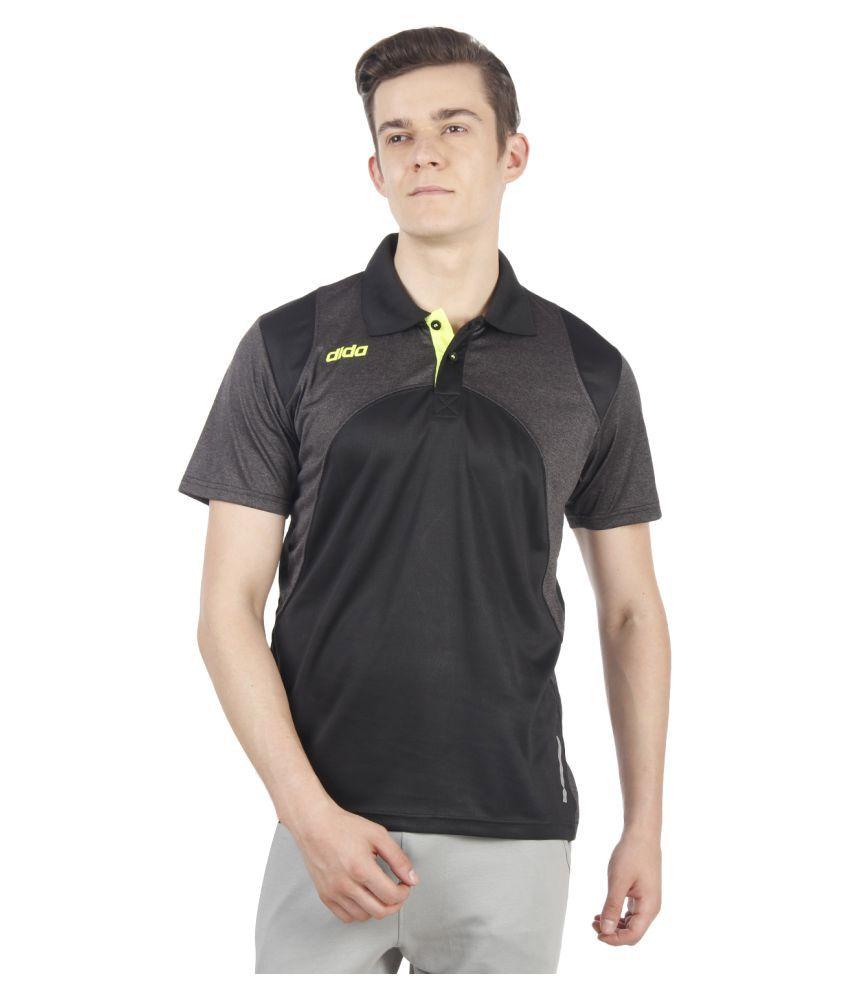 Dida Sportswear Black Polyester Polo T-Shirt