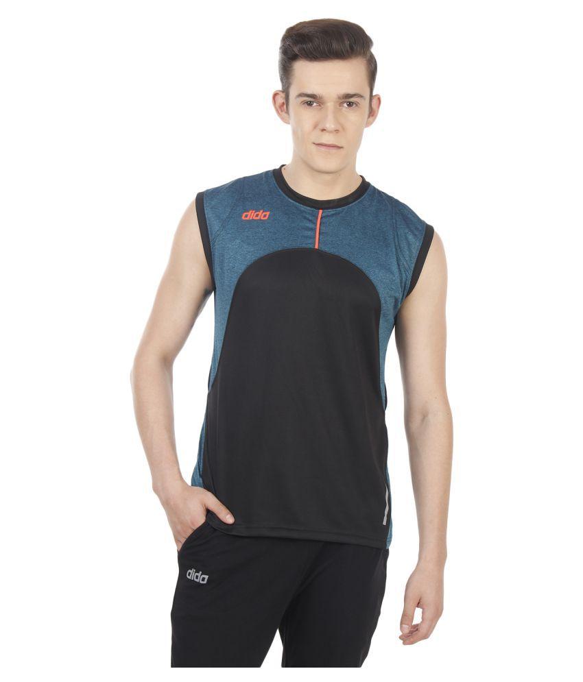 Dida Sportswear Black Polyester T-Shirt