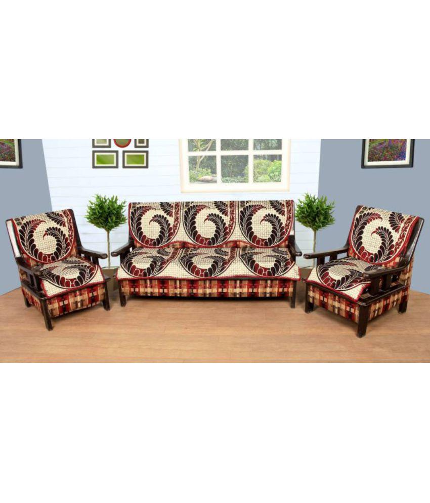Akshaan Texo Fab 5 Seater Poly Cotton Set Of 6 Sofa Cover