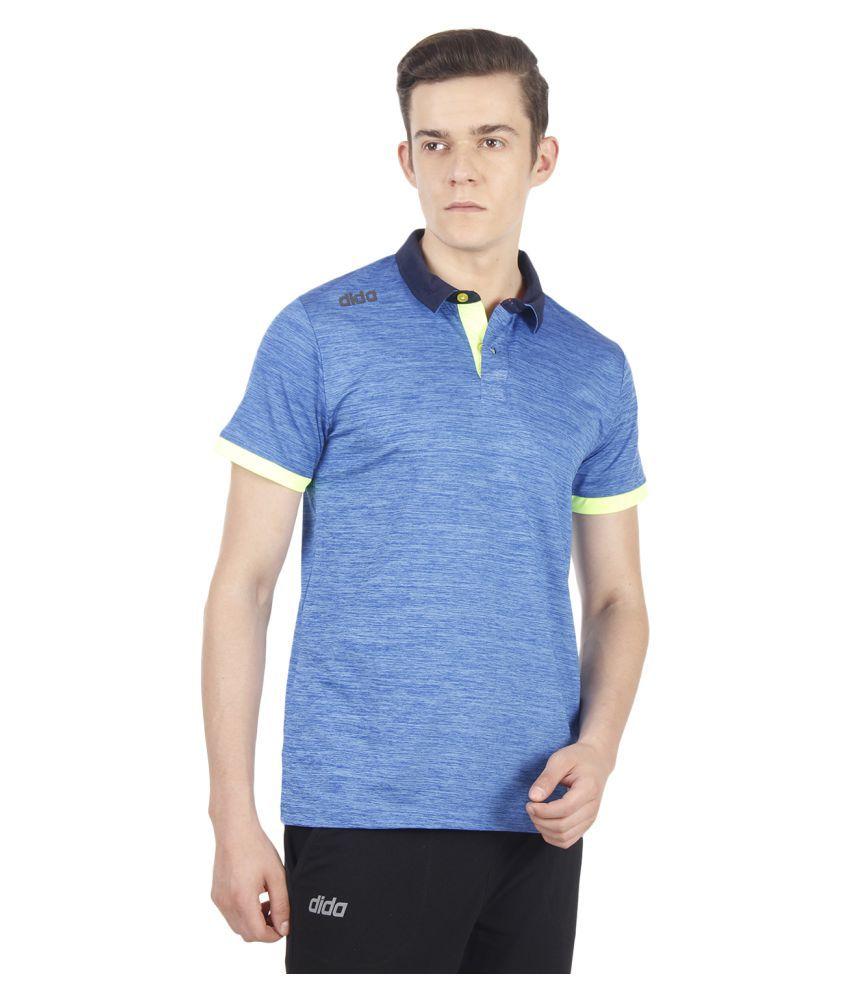 Dida Sportswear Blue Polyester Lycra Polo T-Shirt