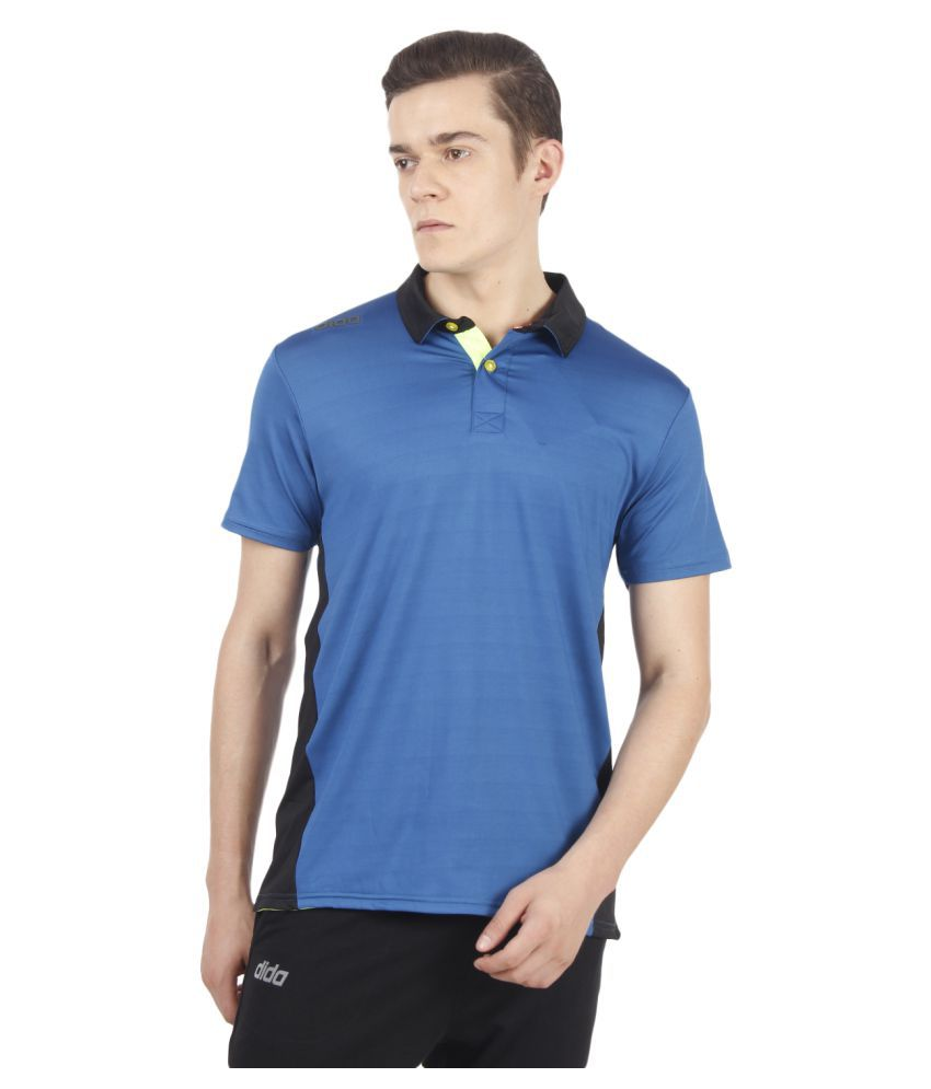 Dida Sportswear Blue Polyester Lycra Polo T-Shirt