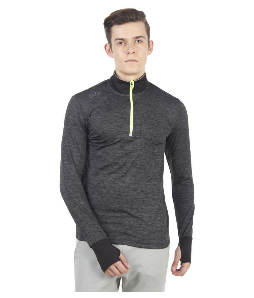 Dida Sportswear Charcoal Polyester Lycra T-Shirt