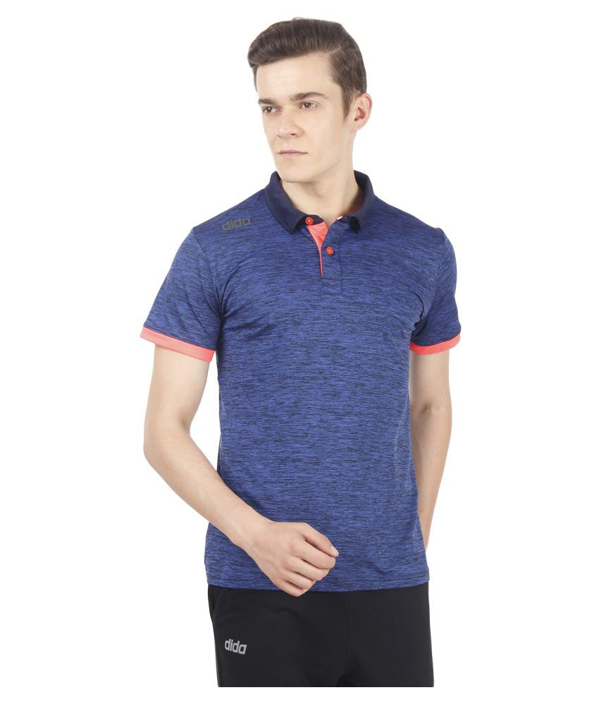 Dida Sportswear Navy Polyester Lycra Polo T-Shirt