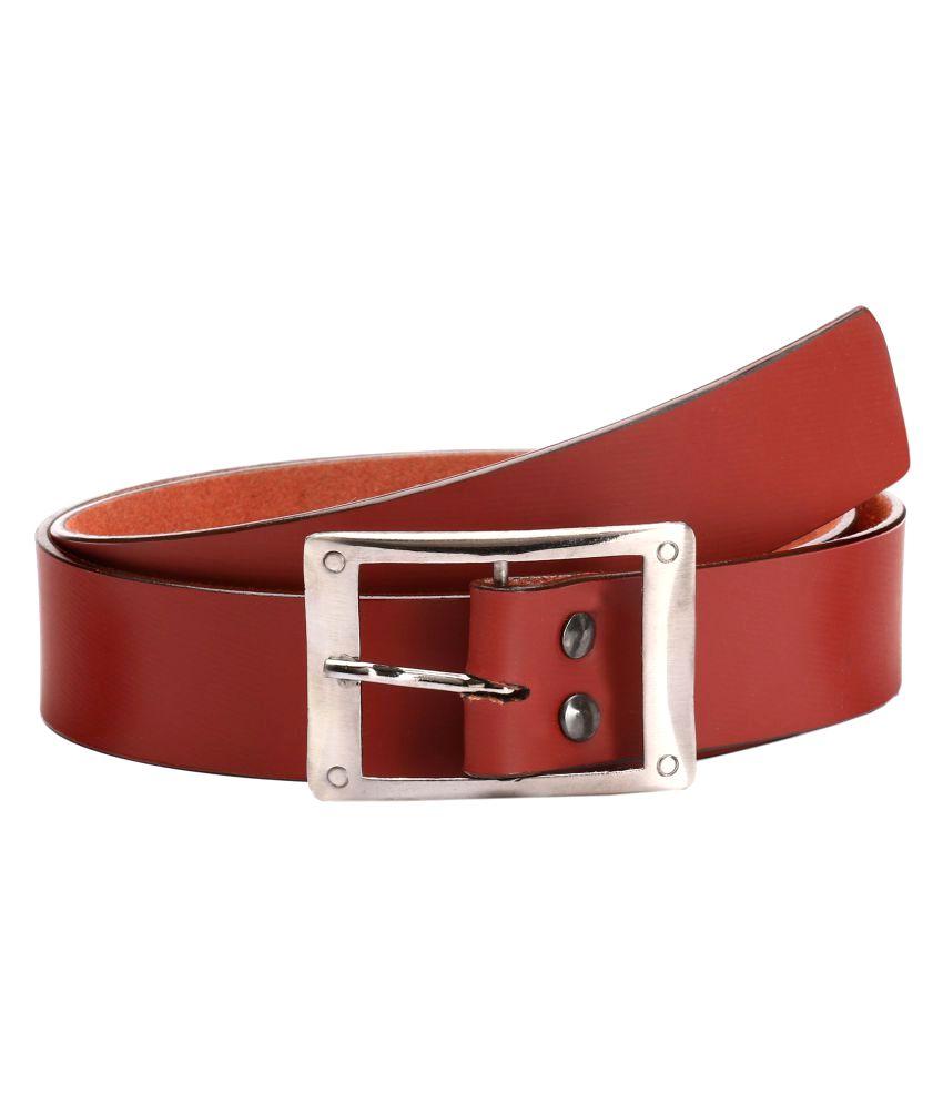 Lewyr Maroon Leather Casual Belts