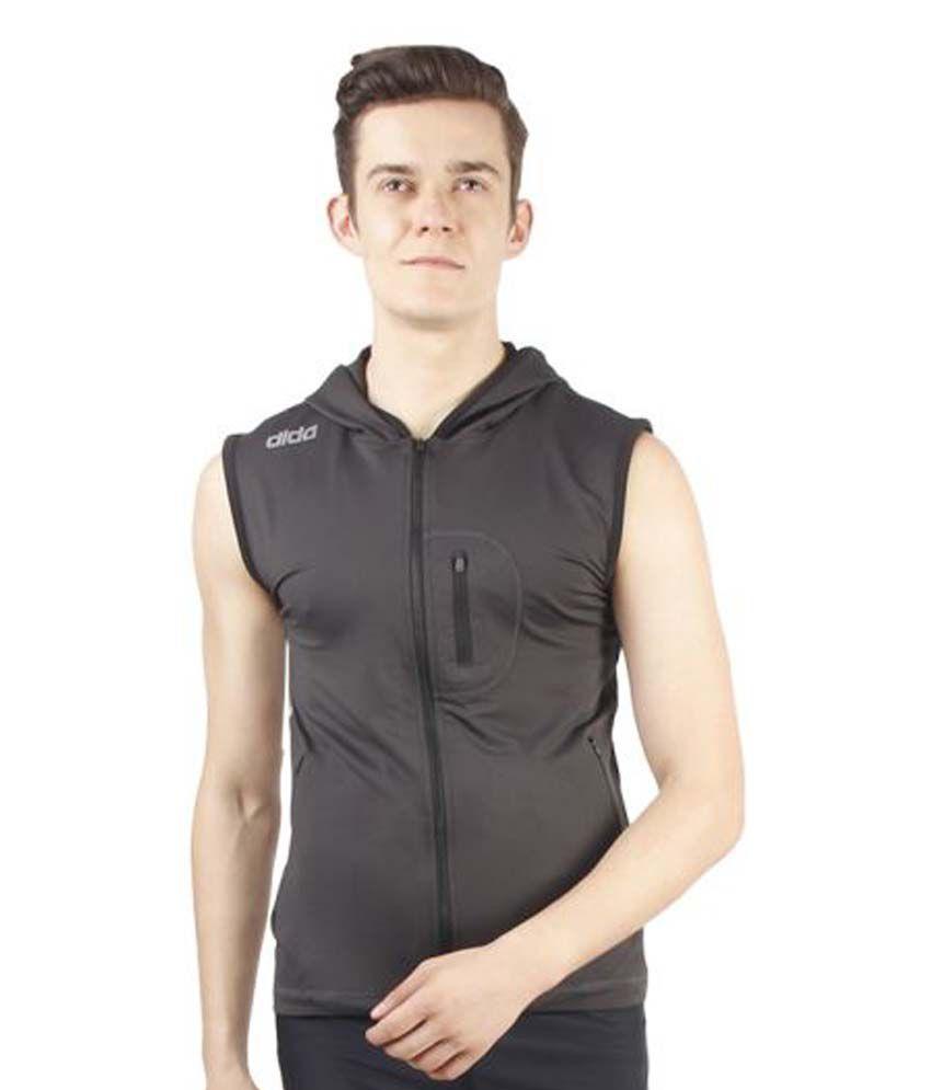 Dida Sportswear Grey Polyester Lycra T-Shirt