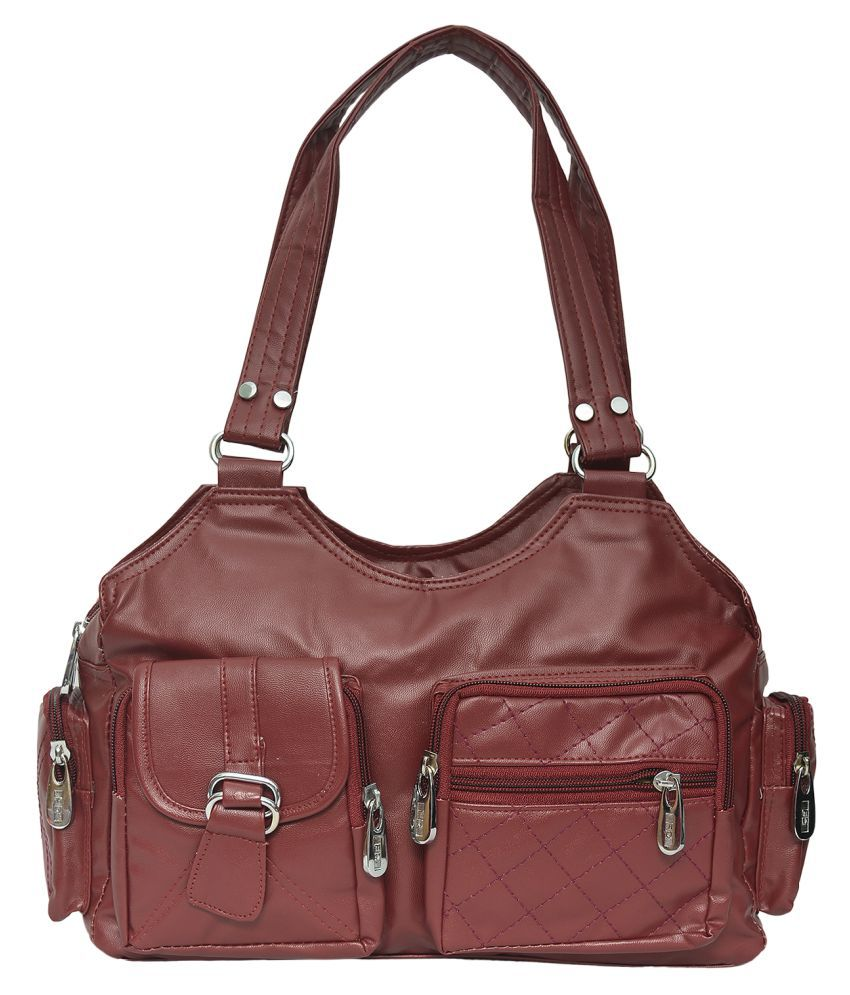 FD Fashion Maroon P.U. Shoulder Bag