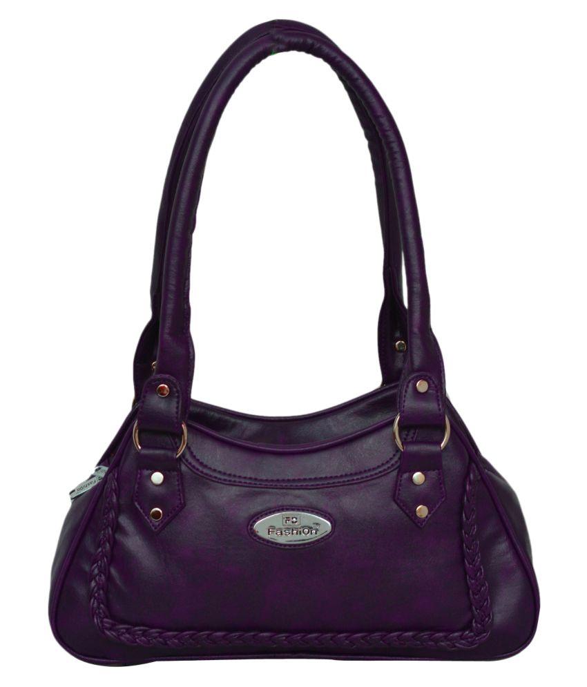 FD Fashion Purple P.U. Shoulder Bag