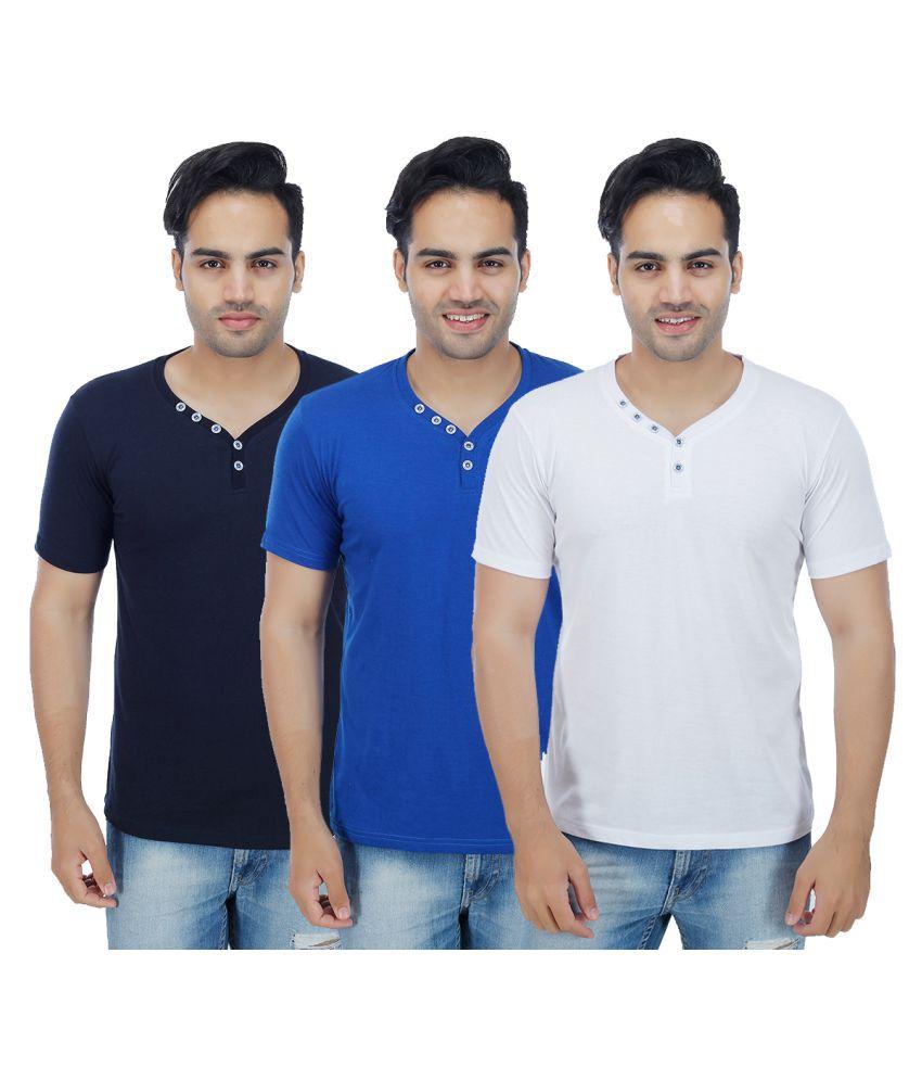 Sanvi Traders Multi Henley T-Shirt Pack of 3