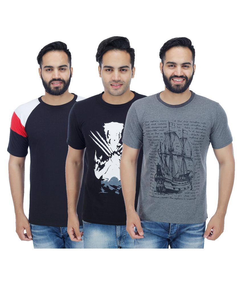 Sanvi Traders Multi Round T-Shirt Pack of 3