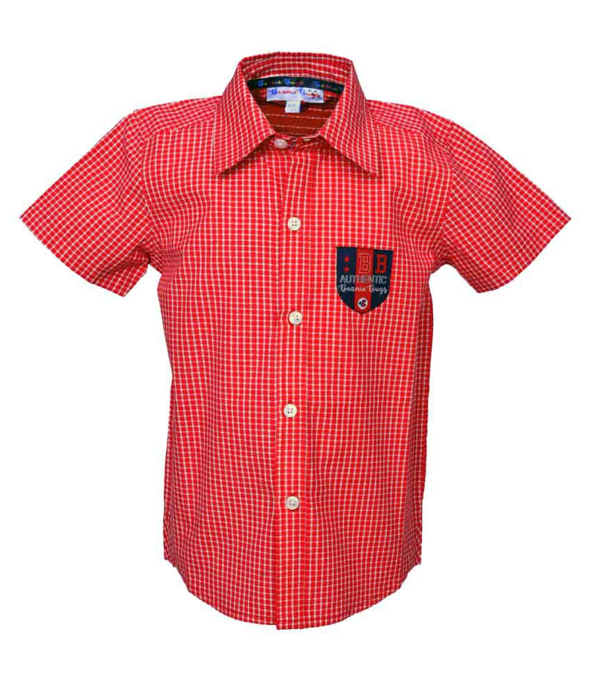 Beanie Bugs Half Sleeves  Casual Red Shirt for Boys