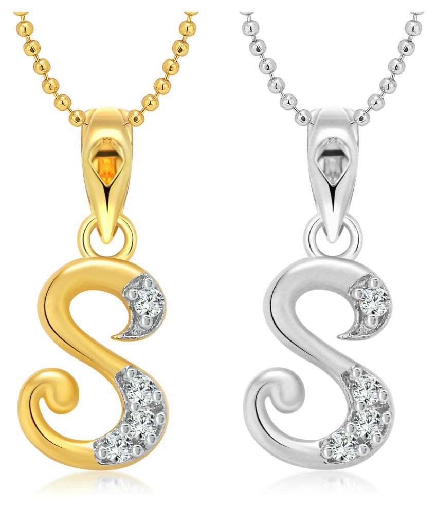 vighnaharta s letter selfie cz gold and rhodium plated alloy pendant with chain for girls and women