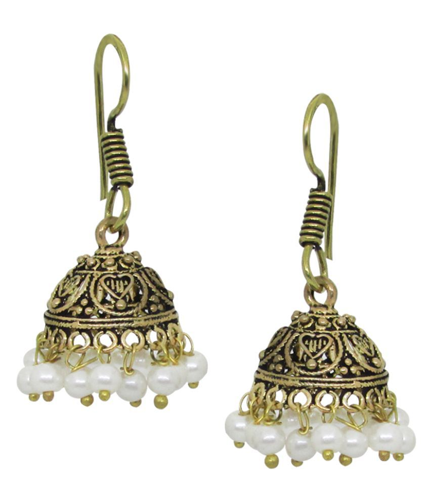 Stylish White Metal Rajasthani Style Earrings With White Pearls