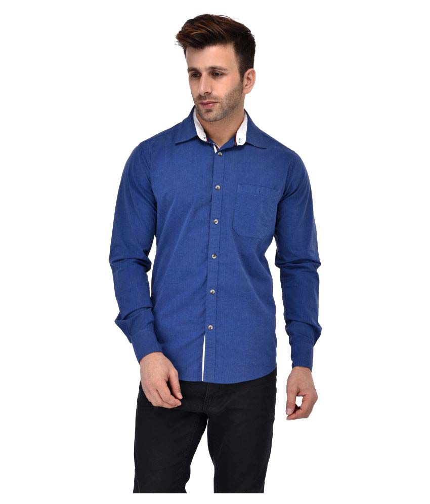 Crosscreek Blue Casual Slim Fit Shirt