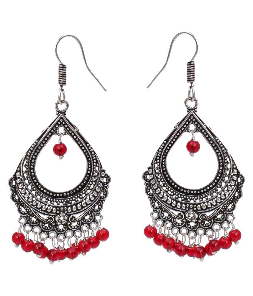 Lucky jewellery Designer Jaipuri  Black Metal Silver Oxidised Maroon Earring Maroon Silver in color  sutiable for all girls ladies and women best in casual wear Earring