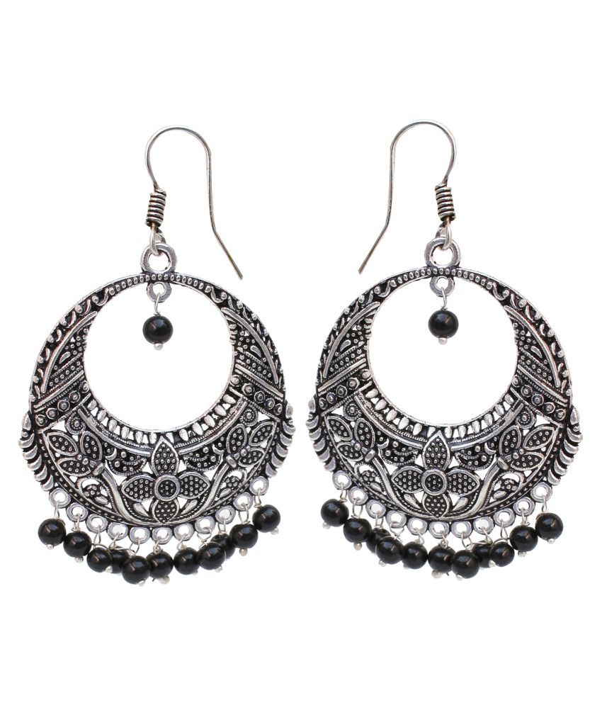 Lucky Jewellery Designer Jaipuri Black Metal Silver Oxidised Earring In Color Sutiable For