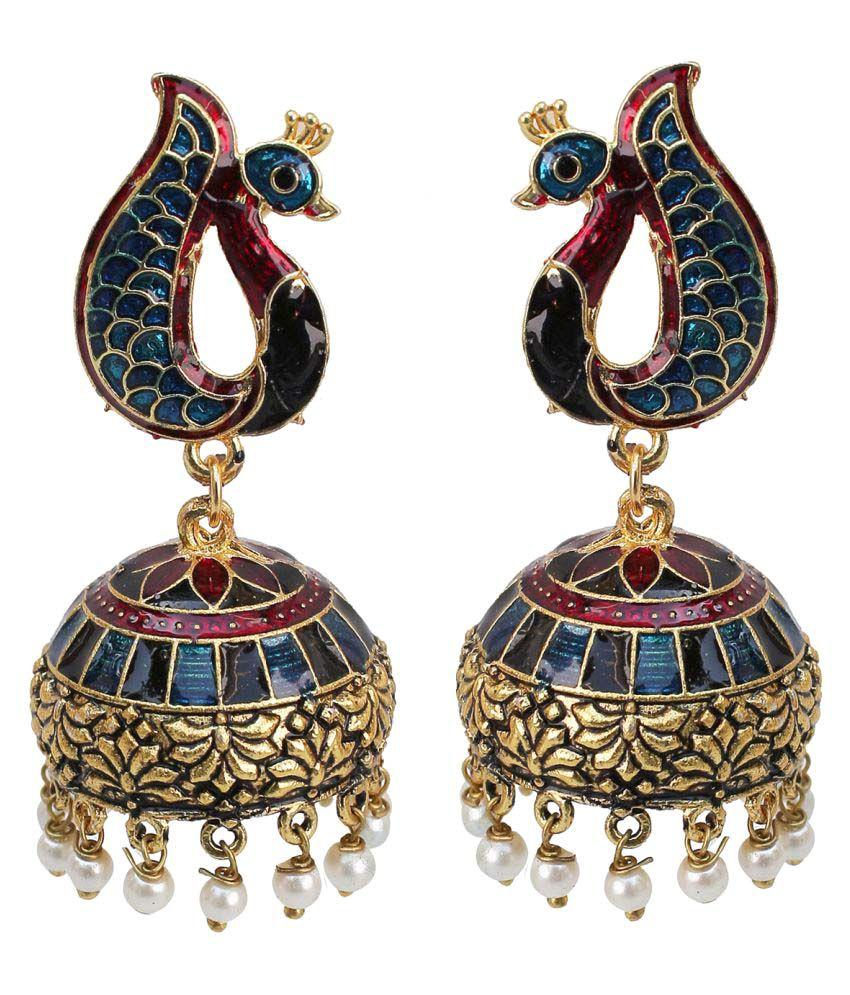 Lucky jewellery Designer Jaipuri  Oxidised Gold Blue Maroon Meenakari Peacock Earring Maroon Blue in color sutiable for all girls ladies and women best in casual wearJhumki
