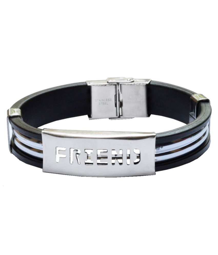 Shiv Jagdamba Hot Selling Friend Silver and Black  Stainless Steel and Silicone Bracelet For Men and Boys
