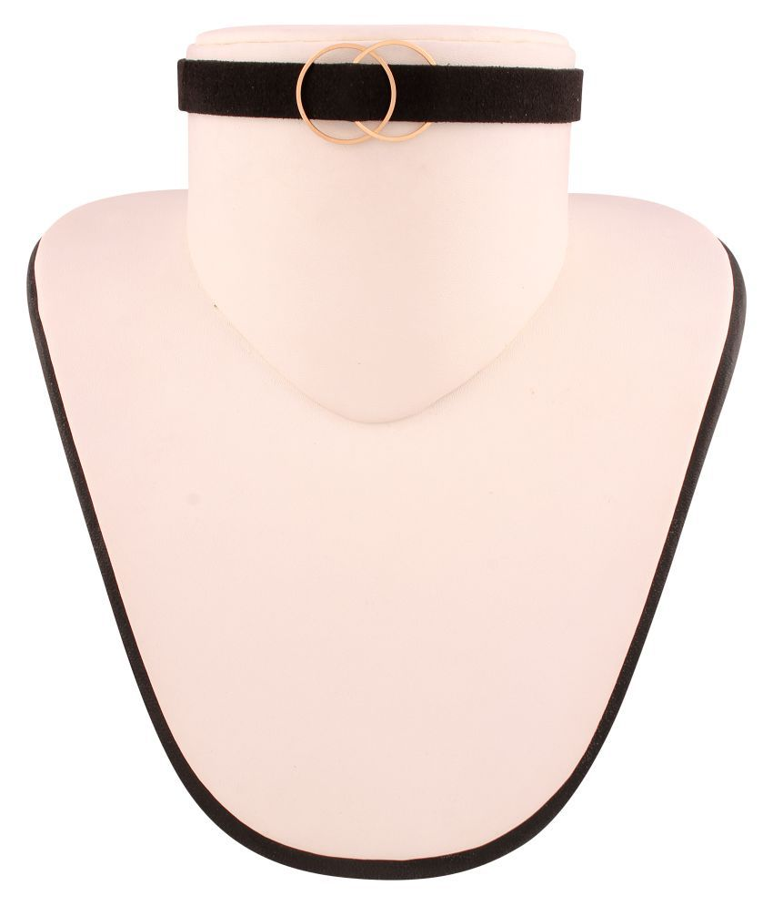 Jazz Jewellery Black Velvet Choker Necklace with Double Ring for Women and Girls