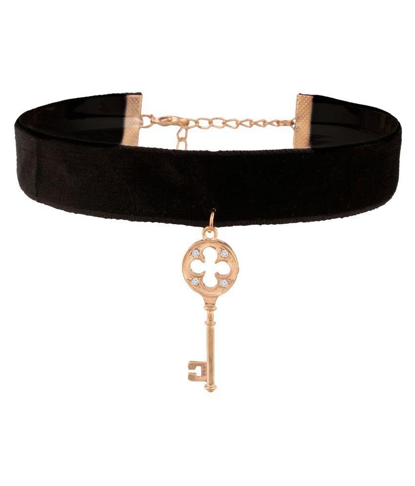 Jazz Jewellery Retro Gothic Style Black Velvet Key Pendent Choker Necklace For Women Girls