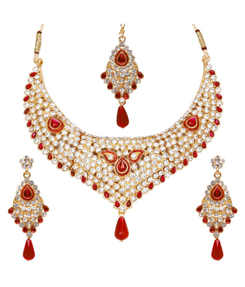 Jewels Gold Alloy Latest Designer Necklace With Earring Set & Maangtika For Women & Girls