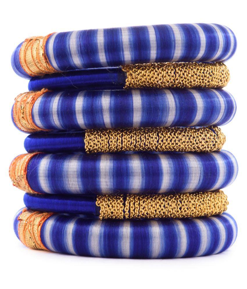 GKN Multi Color Silk Thread Plastic Bangle Set For Women