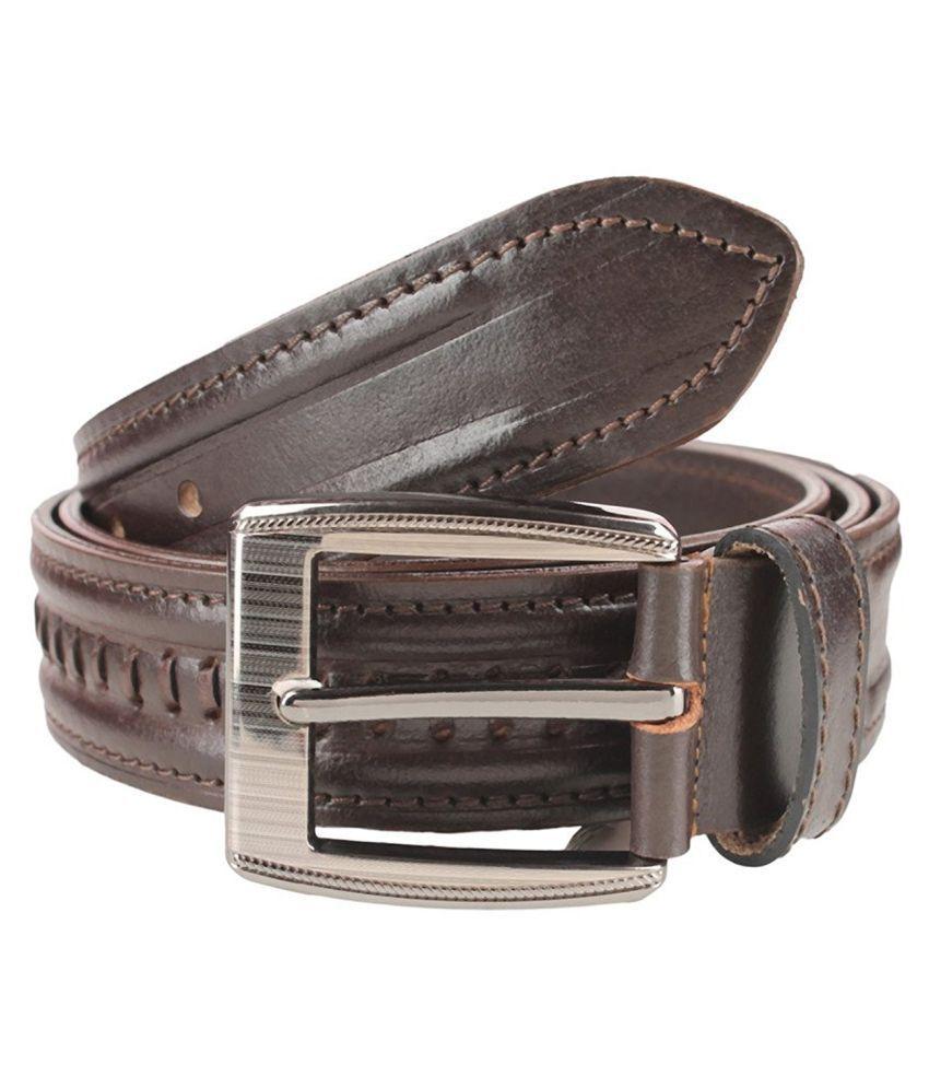 Leatherwala Brown Leather Formal Belts
