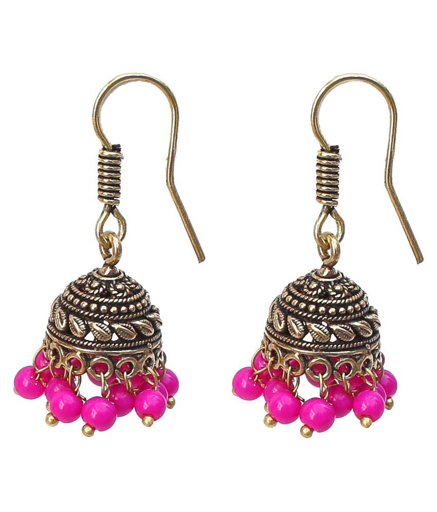 Lucky jewellery Designer  Pink tone Golden Black Metal Oxidised Jhumkisutiable for all girls ladies and womenbest in casual wear sutiable for all girls ladies and women best in casual wear