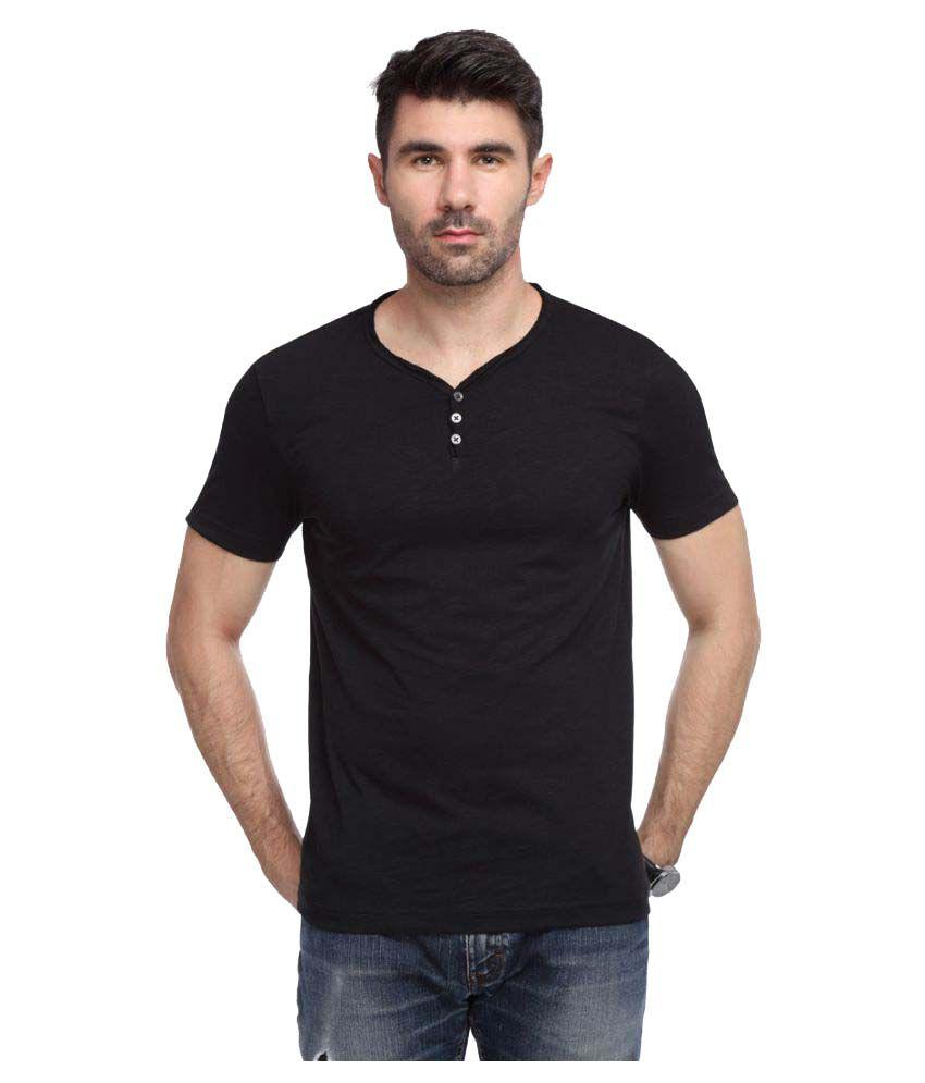 Yukth Black Henley T-Shirt