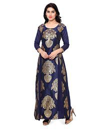 Style Amaze Blue Banarasi Silk Anarkali Gown Semi-Stitched Suit