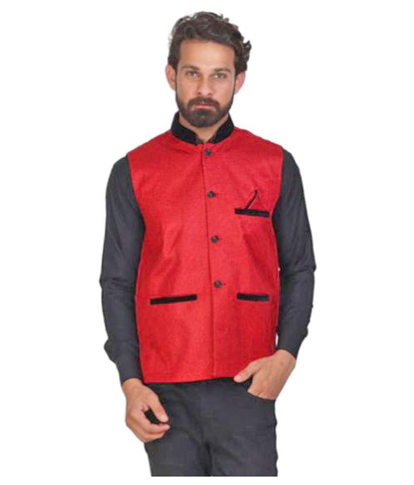 Akaas Red Jute Nehru Jacket - Buy Akaas Red Jute Nehru Jacket Online At Low Price In India ...