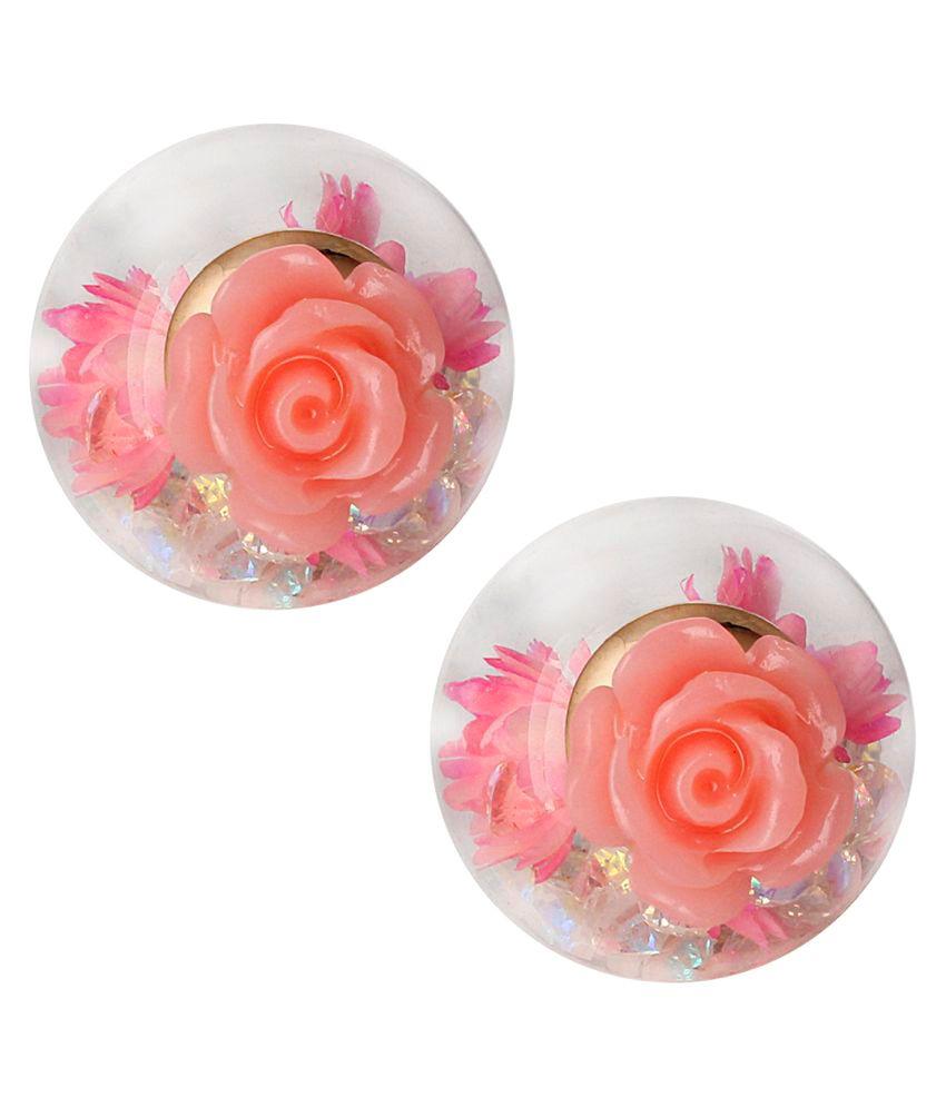 Spargz beautiful baby pink rose flower double side glass ball stud spargz beautiful baby pink rose flower double side glass ball stud earrings aier 767 mightylinksfo