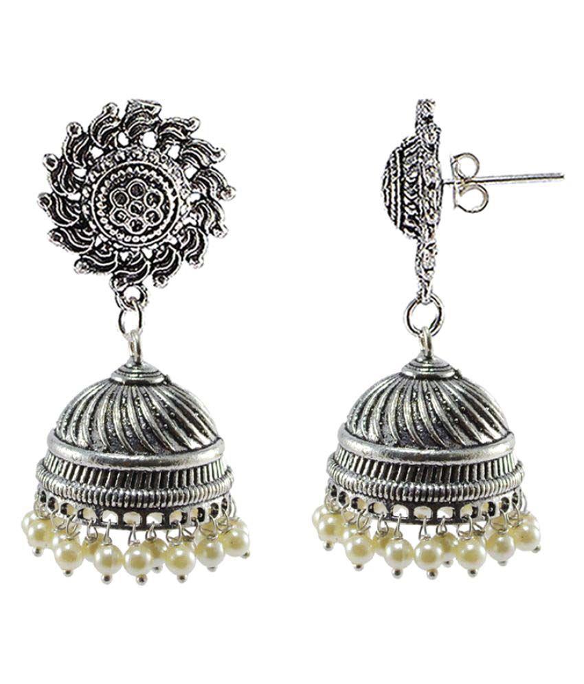 Surya Studs Jhumki-PEARL JHUMKA Earrings-Handmade Artisan Jewellelry By Silvesto India PG-108300