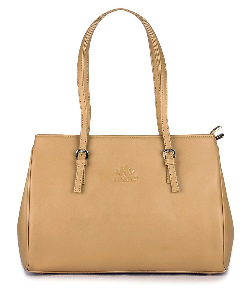 The Clownfish Beige Faux Leather Shoulder Bag