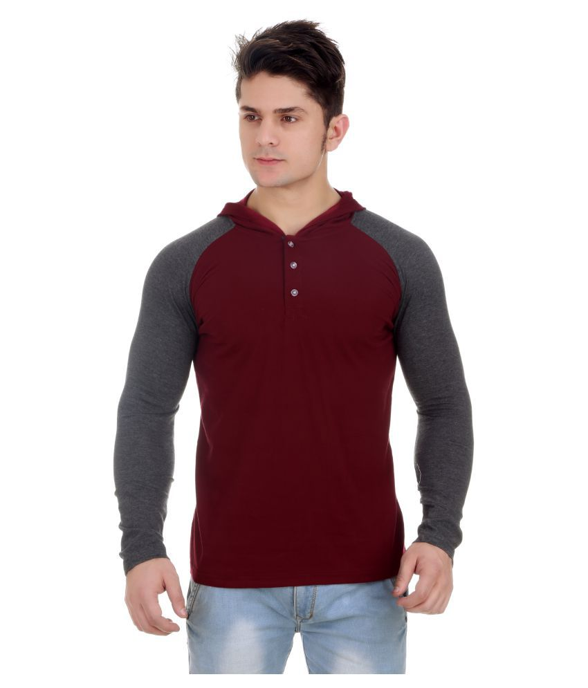 Zcell Maroon Hooded T-Shirt