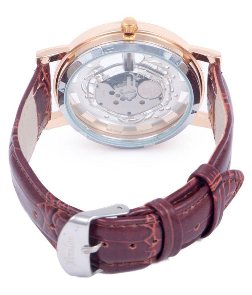 ade2f160e1 ... Jack Klein Stylish Skeleton Golden Dial Brown Strap Analog Wrist Watch  ...