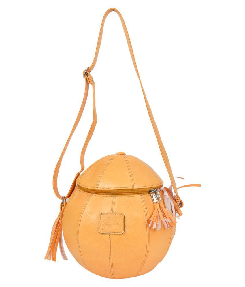 Tanlup Yellow Faux Leather Sling Bag