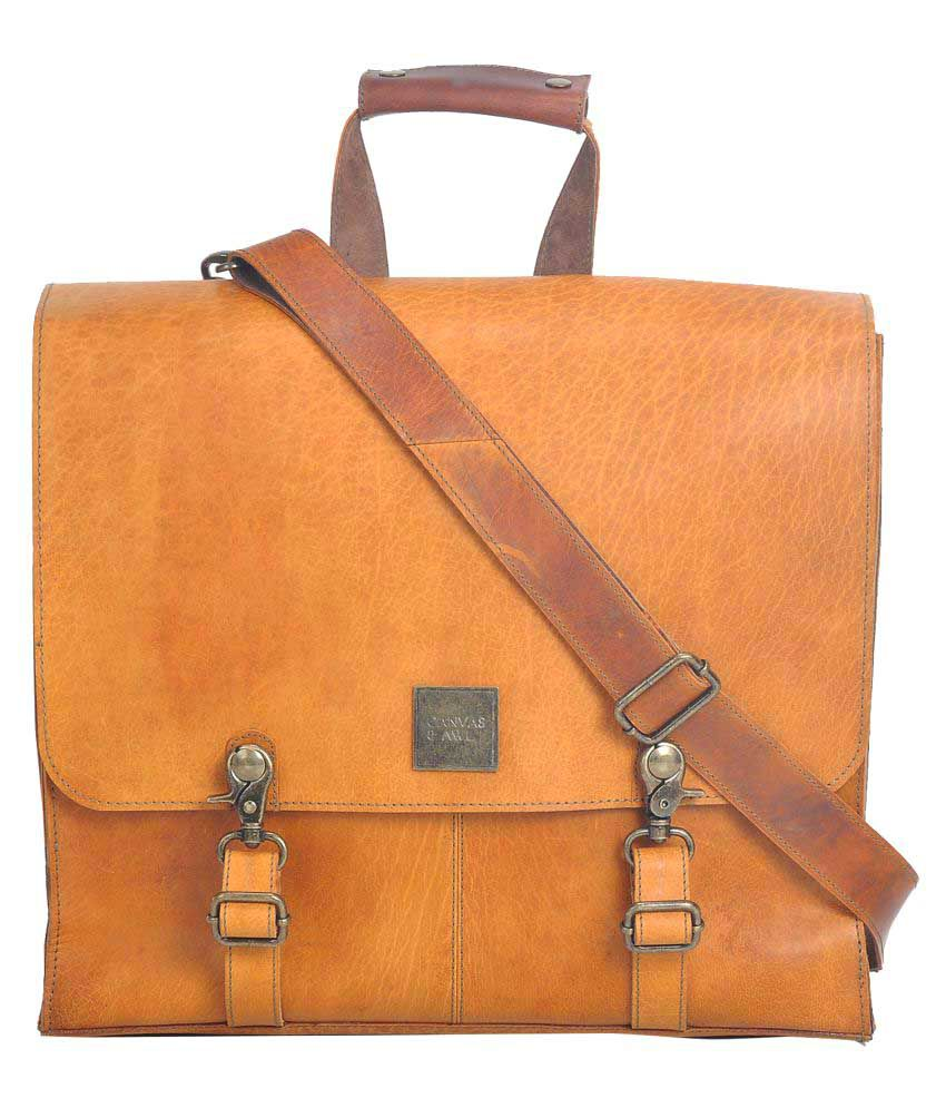 Canvas & Awl Tan Leather Office Messenger Bag