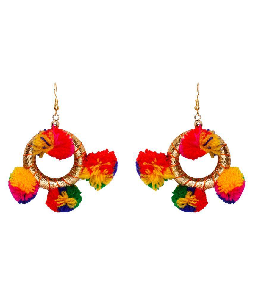 Jewels Gold Party Wear Fashionable Stylish Fancy Pom Pom Earring Set For Women & Girls