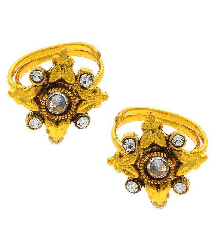 Anuradha Art Golden Finish Designer Classy Shimmering Stone Traditional Toe-Ring For Women/Girls