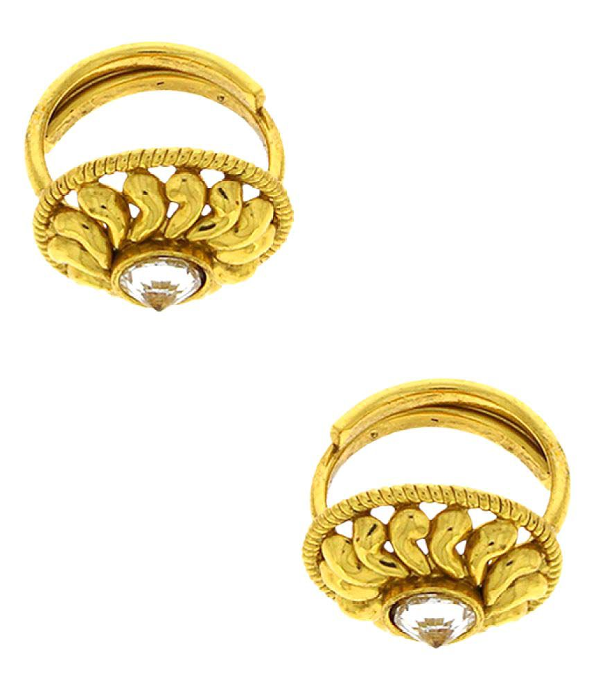 Anuradha Art Golden Finish Styled With Sparkling Stone Designer Toe Ring For Women