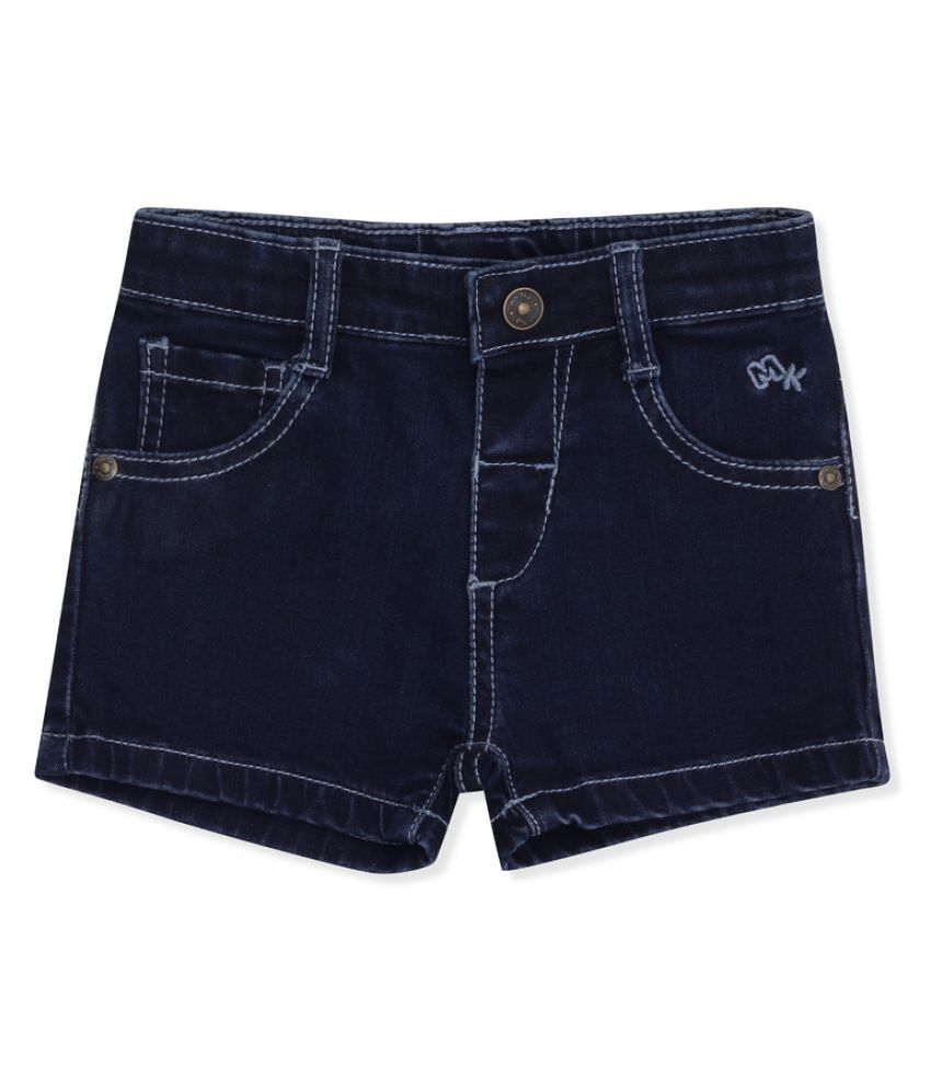 Denim Shorts with Front Open Button