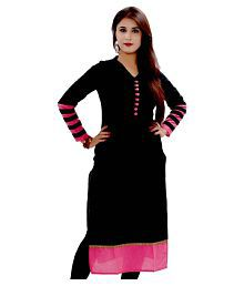 K Brothers Designs Black Cotton Straight Kurti