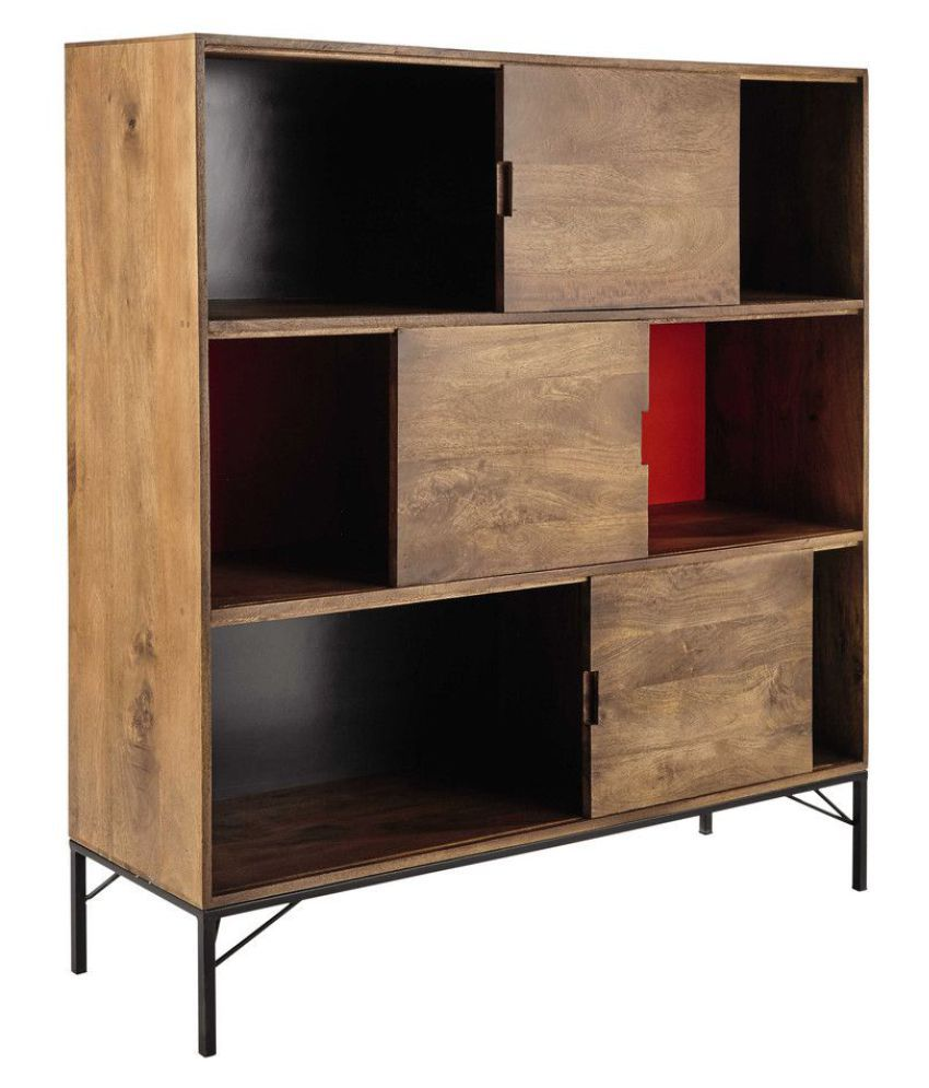 ANIMATED MANGO WOOD BOOKSHELF WITH COLORED BACK AND METAL LEGS