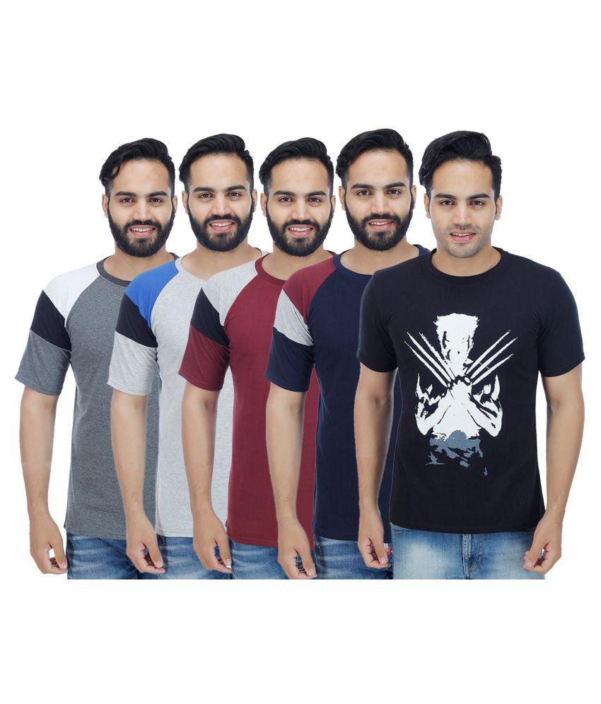Christy World Multi Round T-Shirt Pack of 5