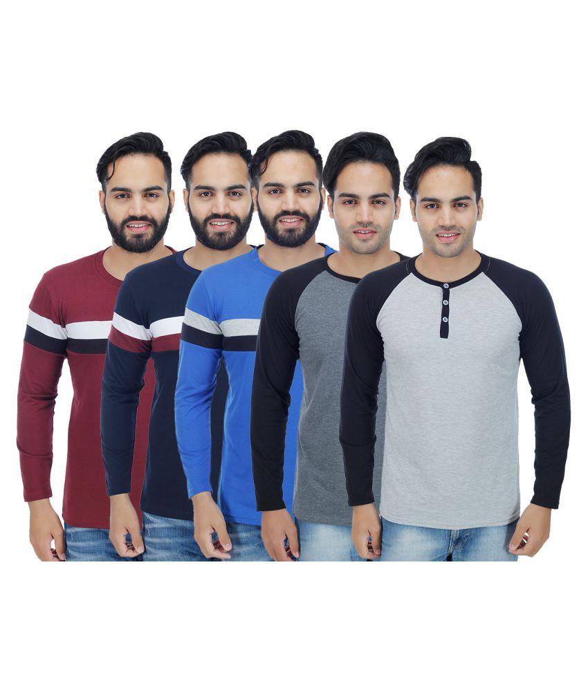 Rakshita's Collection Multi Round T-Shirt Pack of 5