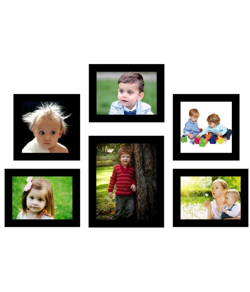 SwadesiStuff MDF Wall Hanging Black Photo Frame Sets - Pack of 6